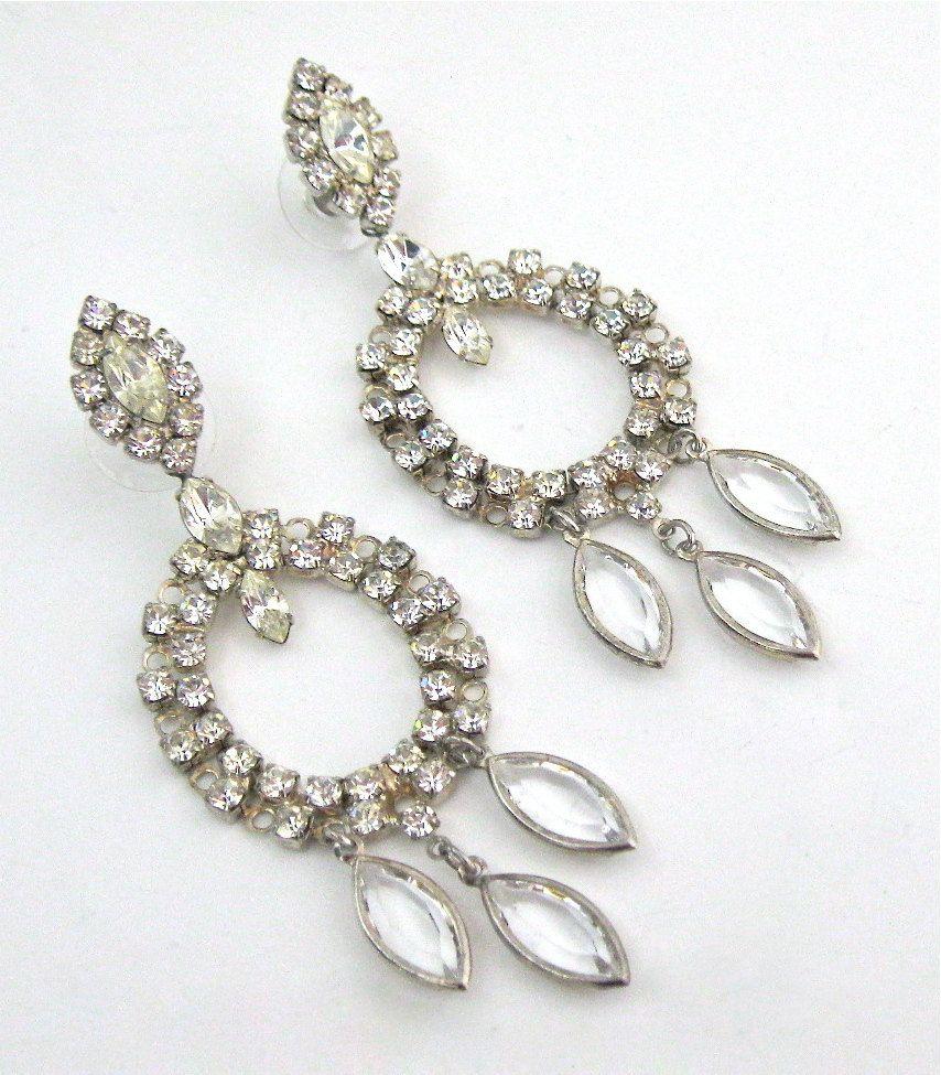 Vintage Chandelier Earrings Costume Jewelry Clear Rhinestones Statement Hollywood Red Carpet Via Etsy