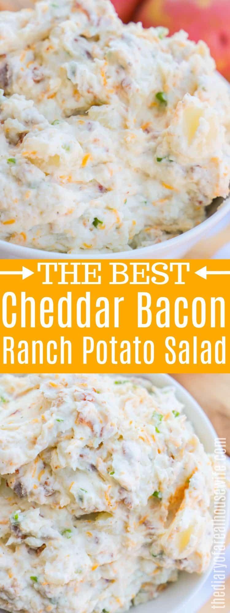 The BEST summer side dish recipe. Cheddar Bacon Ranch Potato Salad #sidedish #potatosalad