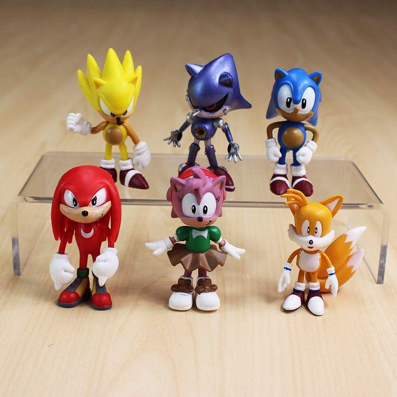 6 unids/set 7 cm sega sonic the hedgehog juguete del pvc del juguete figuras personajes de sonic figura de juguete envío gratis