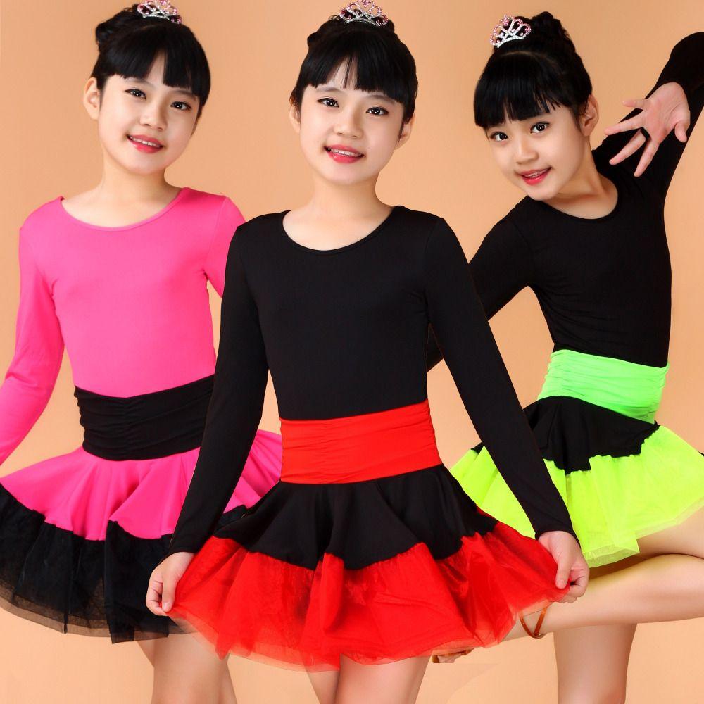 f92851da7d2 Chica Kids Ballroom Tango Tango de vestuario baile de los niños ropa de  manga larga vestido