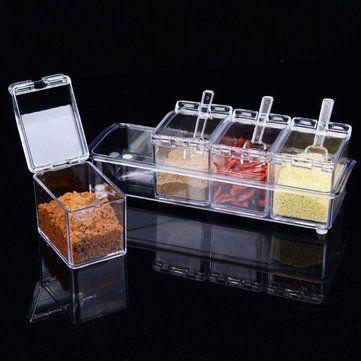 Spice Jar Condiment Storage Seasoning Bottle Container Kitchen Box Case Barbecue