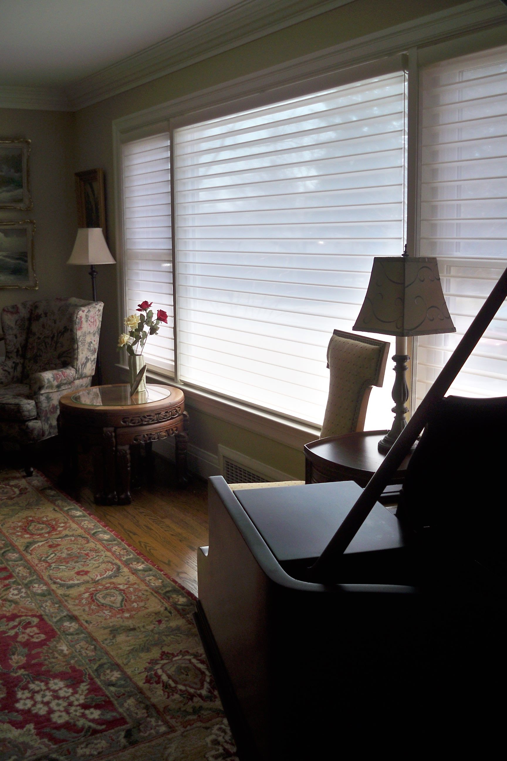 Colourful Traditional Home With Hunter Douglas Silhouette Wi