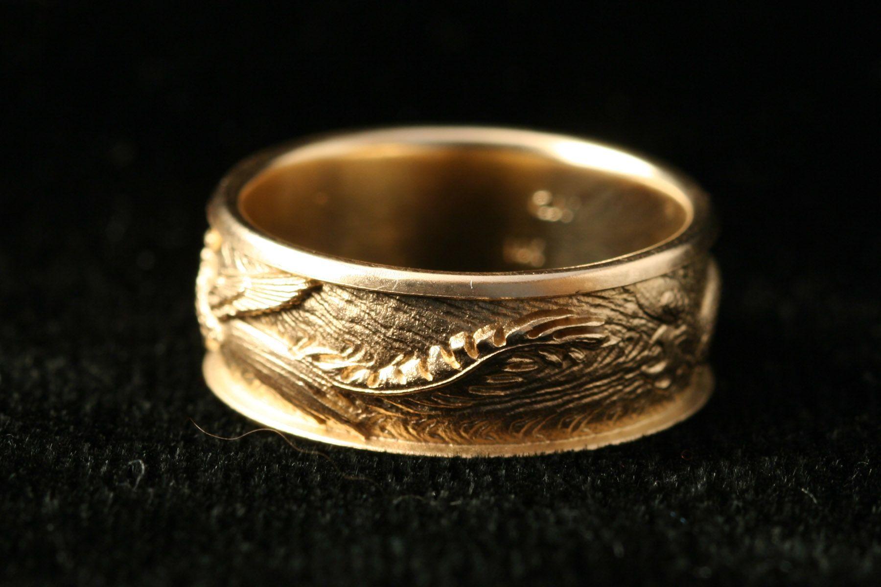 phoenix ring dragon phoenix ring carved by Carol Mortensen