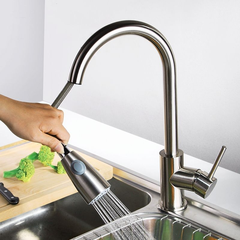 High Quality Modern Brass Brushed Nickel Pull Out Kitchen Sink