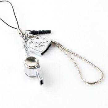 Heart-shaped hanging whistle phone pendant