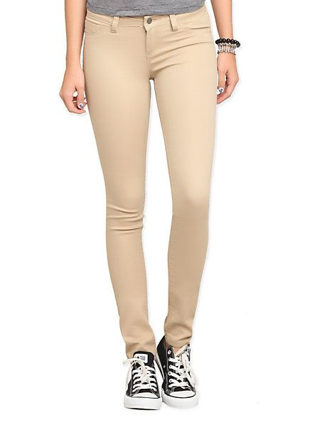 Tan Skinny Jeans | HotTopic | Pinterest | Khaki pants, Skinny ...