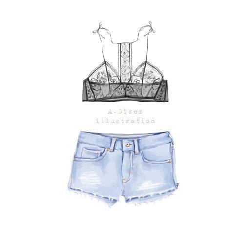 Encaje Jean corto ilustración de moda descargar por StyleOfBrush