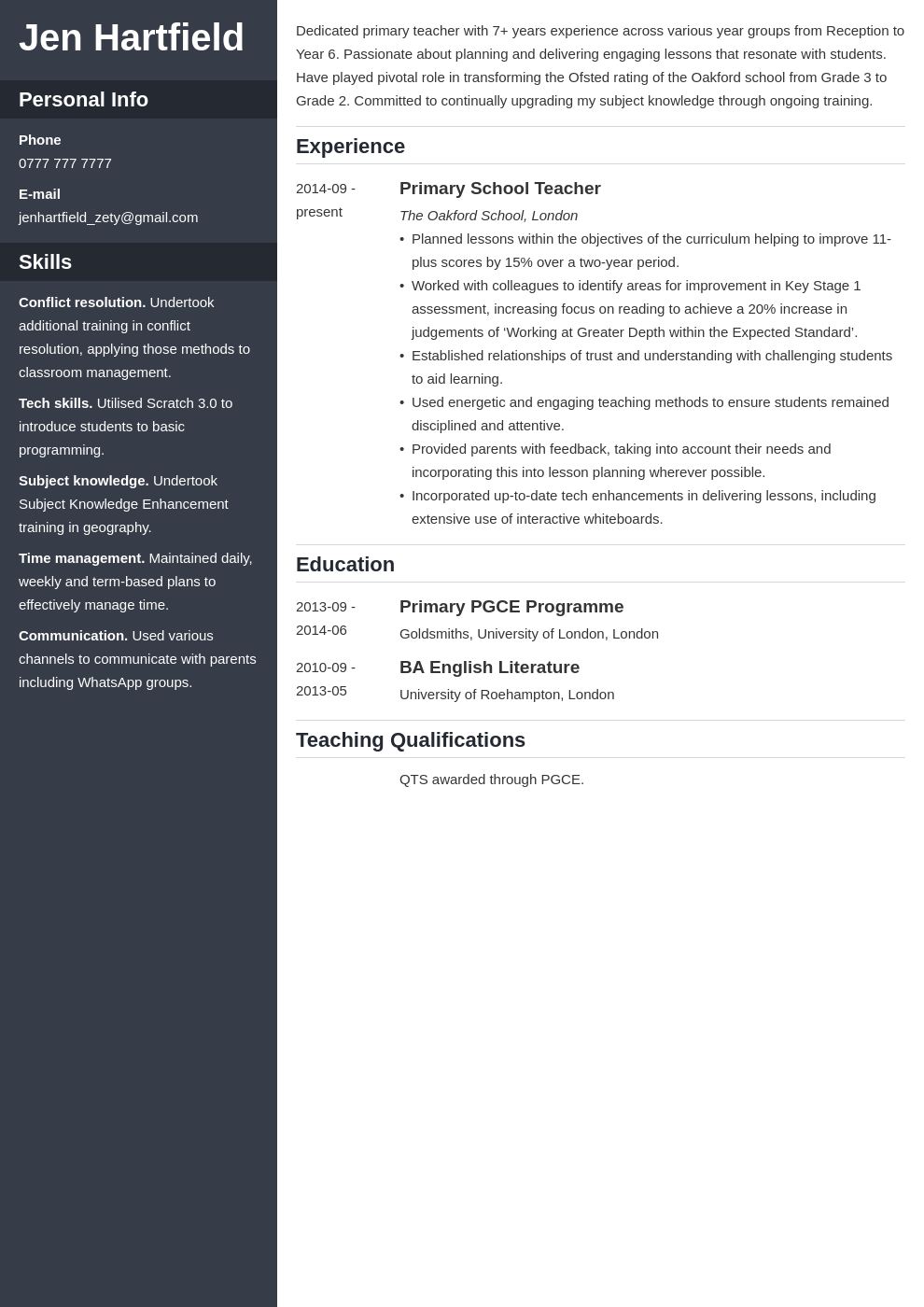uk teacher cv example template cascade in 2020 Teacher
