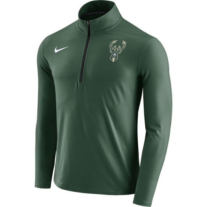 Nike Men s Milwaukee Bucks Dri-FIT Green Element Half-Zip Pullover ... 6d7c39c4b