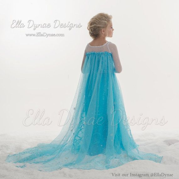 Elsa Frozen Dress Custom made with attached cape with Rush Creation