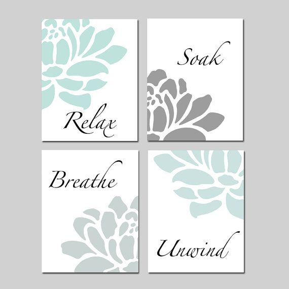 Relax Soak Unwind Bathroom Decor Wall Art Set of 4 Prints Aqua