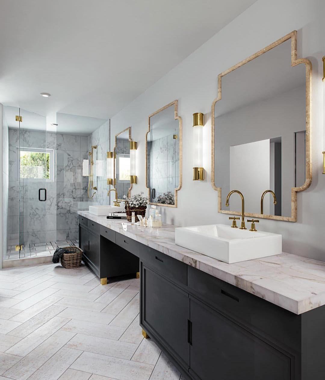 Herringbone floor in black white and brass bathroom ...