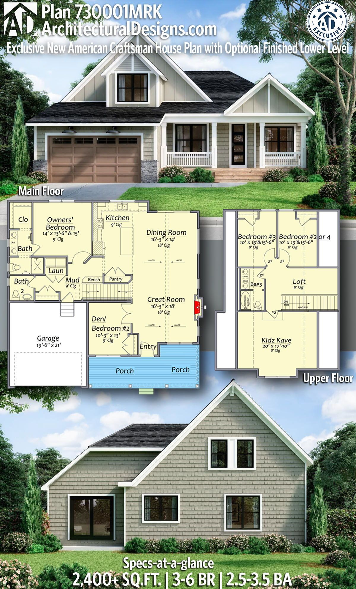 Plan 730001mrk Exclusive New American Craftsman House Plan With Optional Finished Lower Level In 2020 Beautiful House Plans Craftsman House Plan Craftsman House
