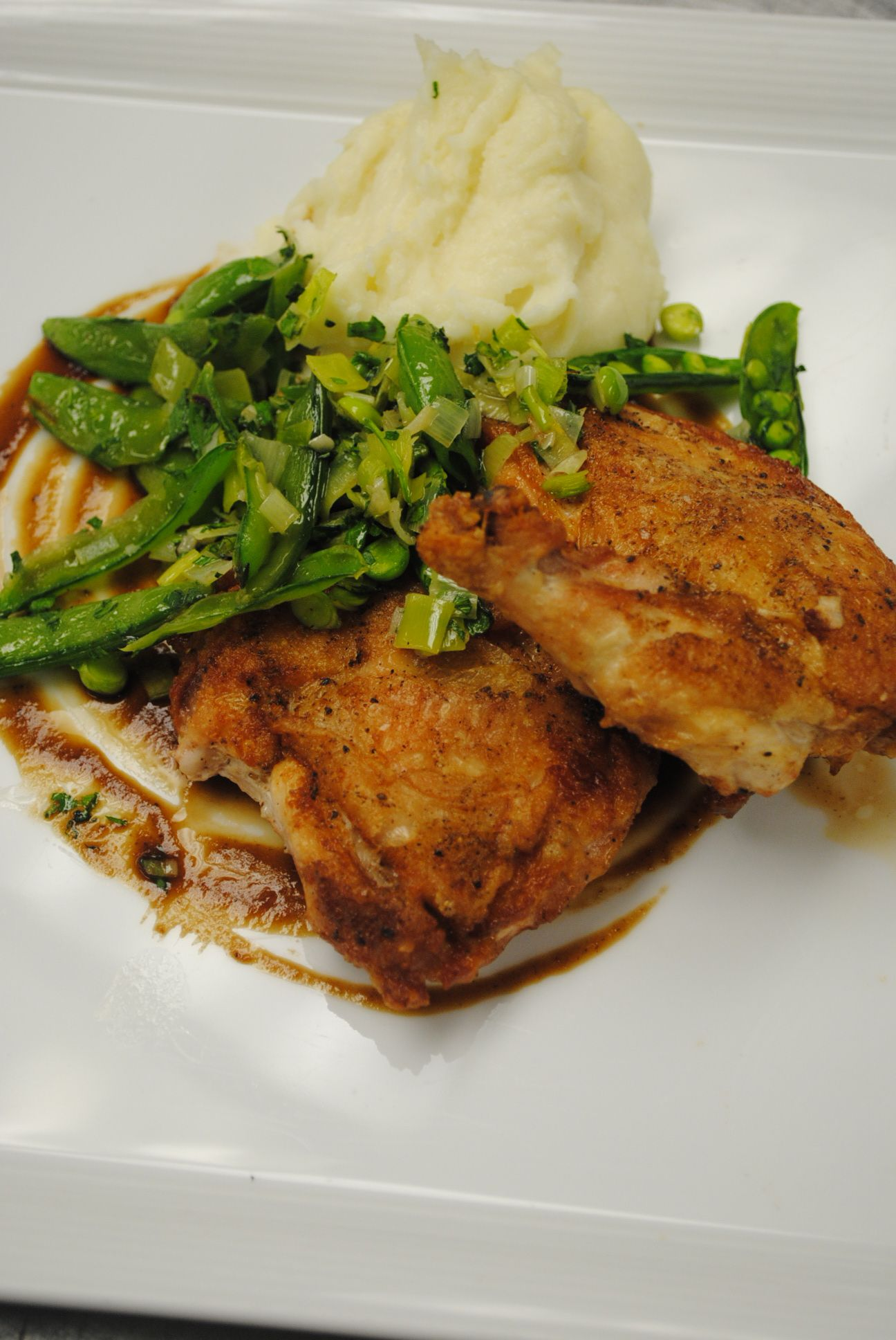 Sautéed Free Range Chicken with Leeks, Sugar Snap Peas and
