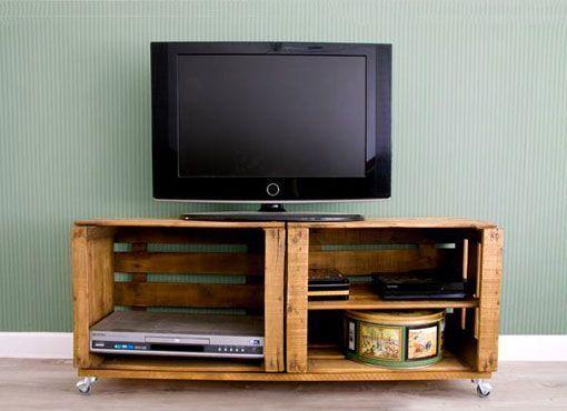 decorar con cajas de fruta antiguas mueble para tv