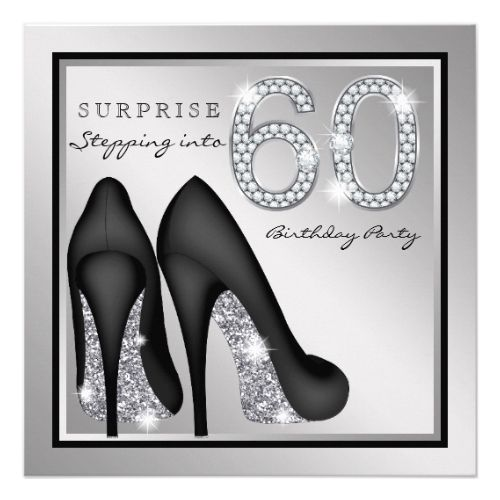 Womans surprise 60th birthday party silver card surprise birthday surprise birthday invitations womans surprise 60th birthday party silver card filmwisefo Image collections