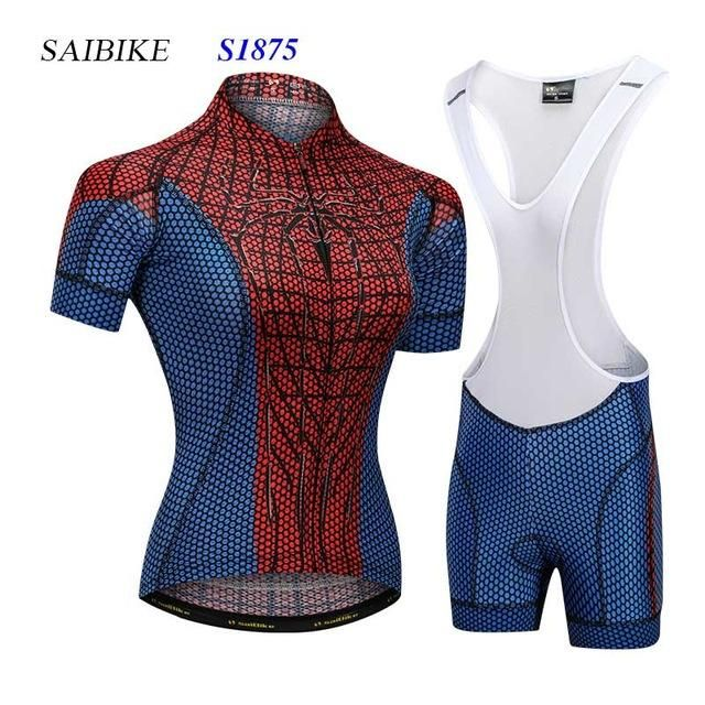 Super Hero cycling jersey sets black spiderman women cycling clothing  summer short sleeves bike bicycle tops ropa ciclismo mujer 7a1f3a49b