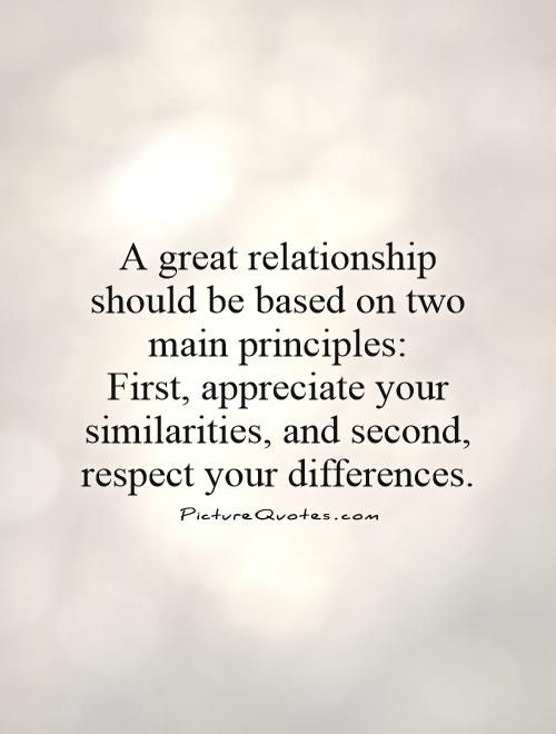Image of: Distance Relationship Great Relationship Should Be Based On Two Main Principles First Appreciate Your Similarities And Second Respect Your Differences Picture Quotes Pinterest Great Relationship Should Be Based On Two Main Principles First