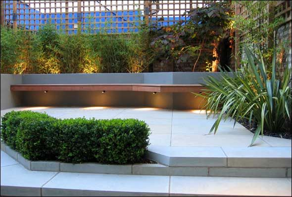 Cantilevered bench w/mood lighting Outdoor Furniture Pinterest