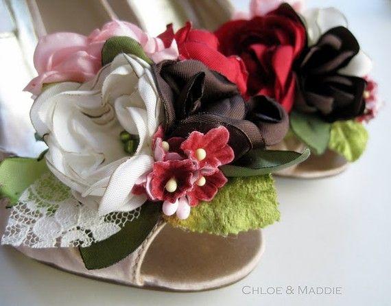 vintage fabric flowers shoe clips