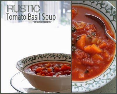 Rustic Tomato Basil Soup (carrots, onion, chopped tomatoes)