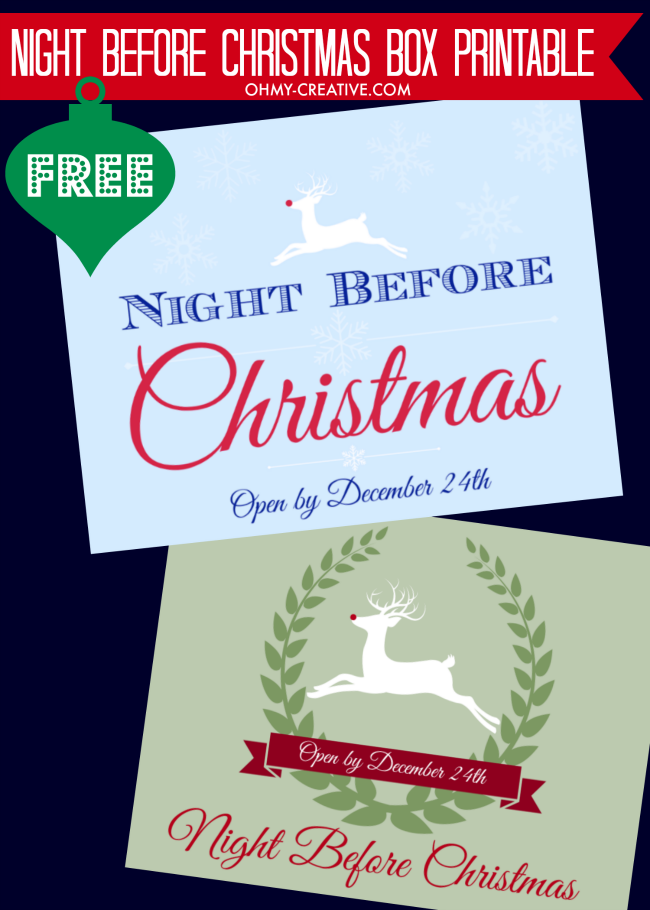 Start A New Family Tradition On Christmas Eve With This Night Before Box Free Printable Label Fun For The Whole
