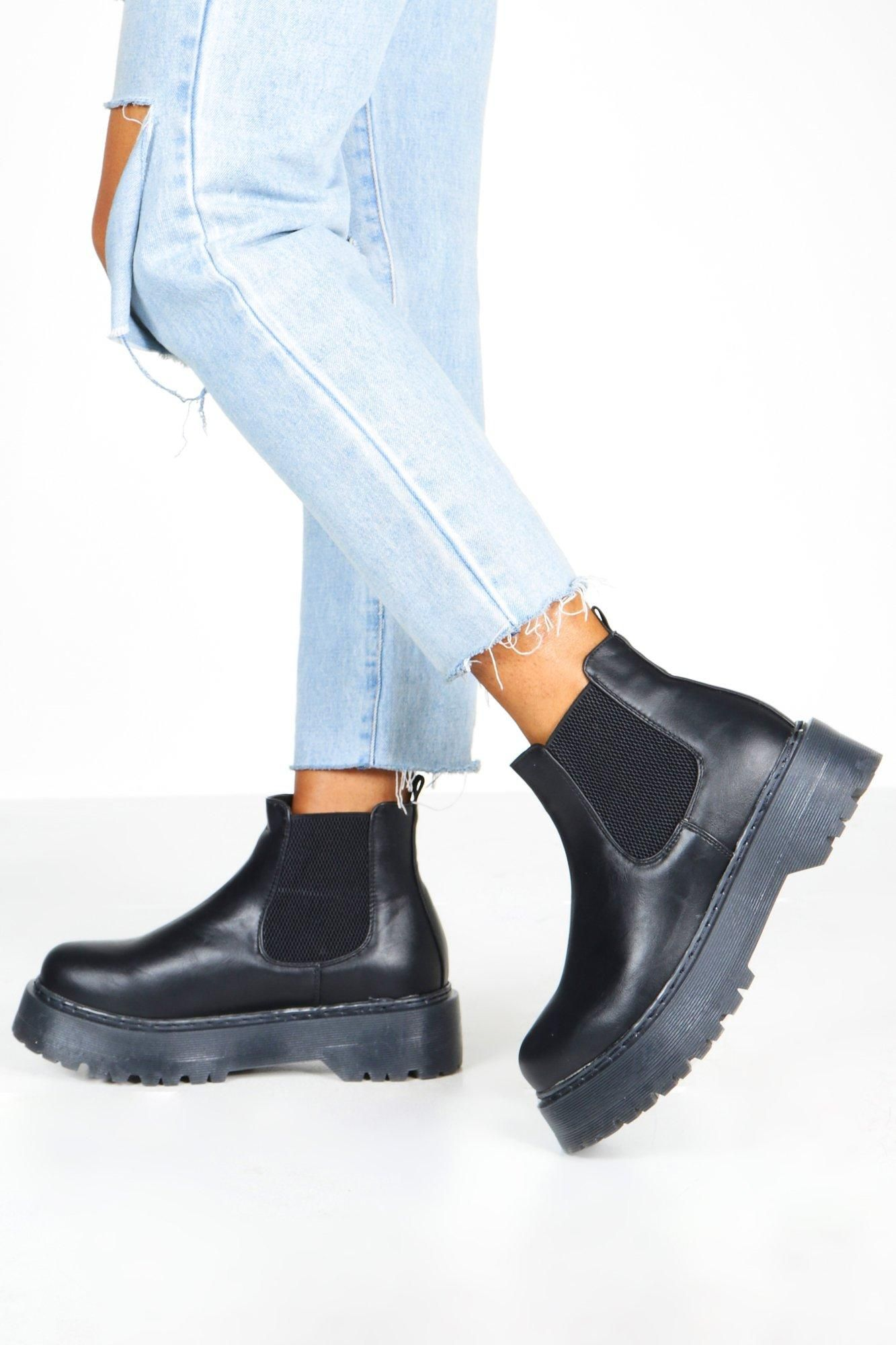 Wide Fit Chunky Platform Chelsea Boots