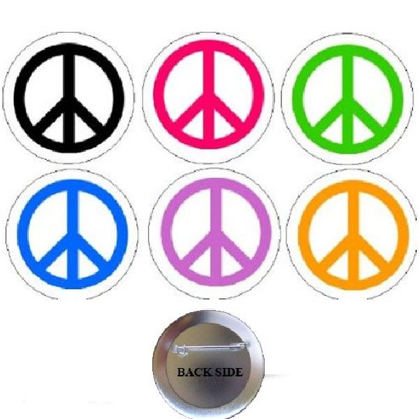 Peace And Love Sign Pick Buttons 125 6 Pcs Shops Symbols And