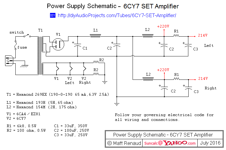 Power Supply Schematic - 6CY7 Single-Ended Triode (SET) Stereo