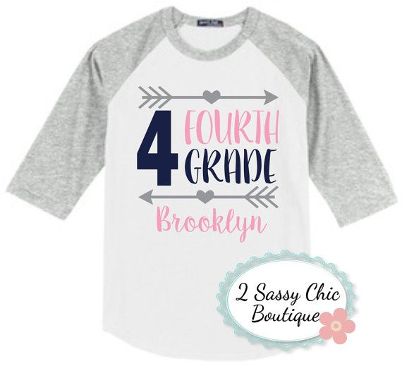 Fourth grade back to school raglan shirt kindergarten for Back to school shirts