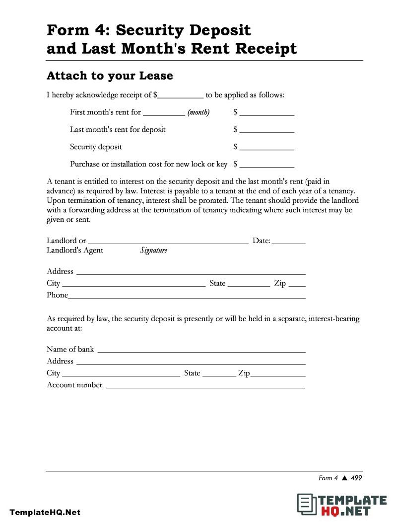 Free Security Deposit And Rental Receipt Form Deposit Rental Business Template