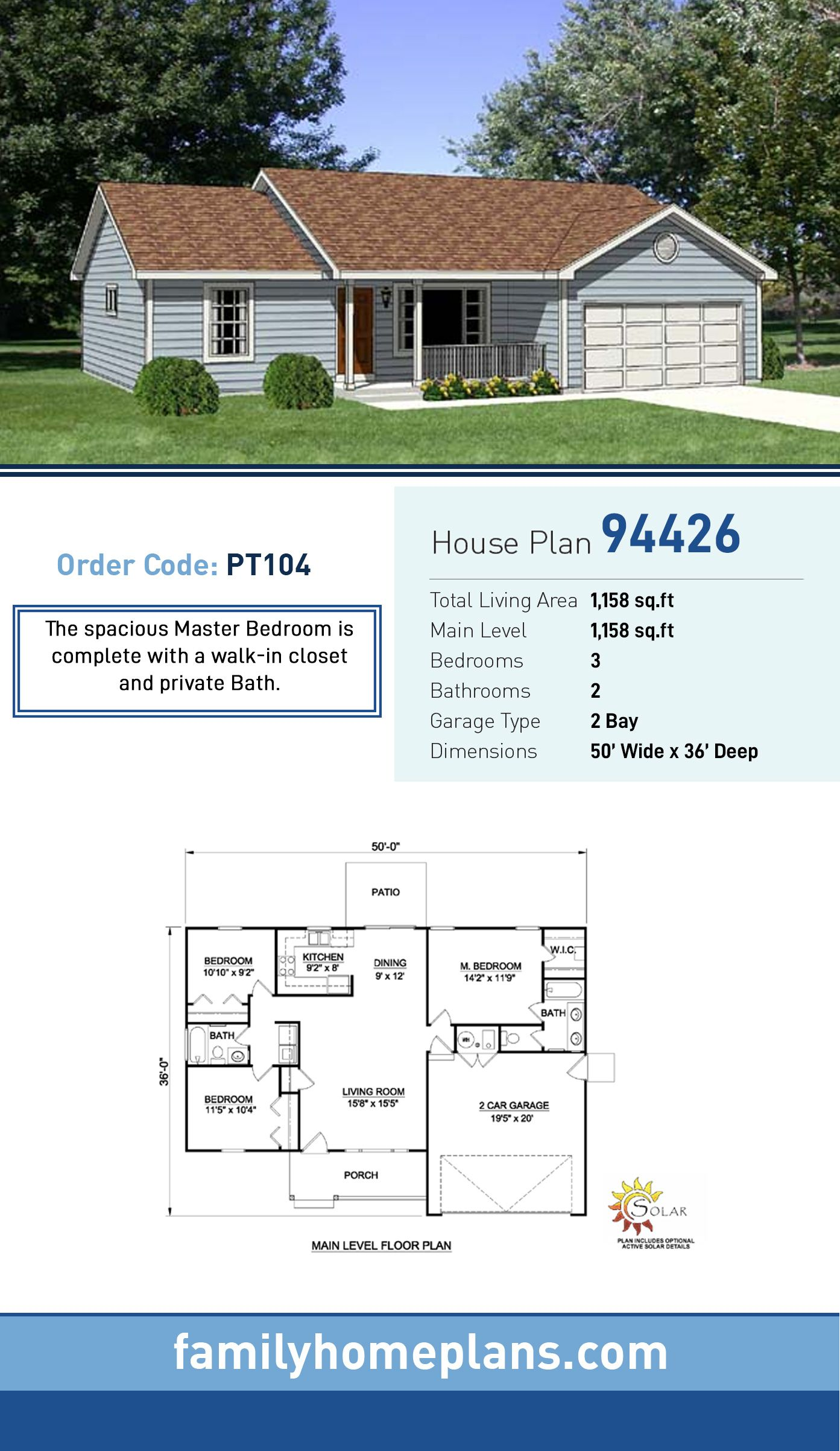 Ranch Style House Plan 94426 With 3 Bed 2 Bath 2 Car Garage Ranch House Plans Ranch Style House Plans House Plans