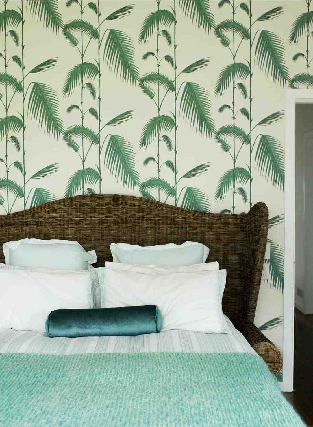Shannon Fricke's gorgeous bedroom in Byron Bay using Cole & Sons 'Palm Leaves' wallpaper