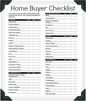 Hud Homebuyer Checklist Bring One To Each Home You Tour