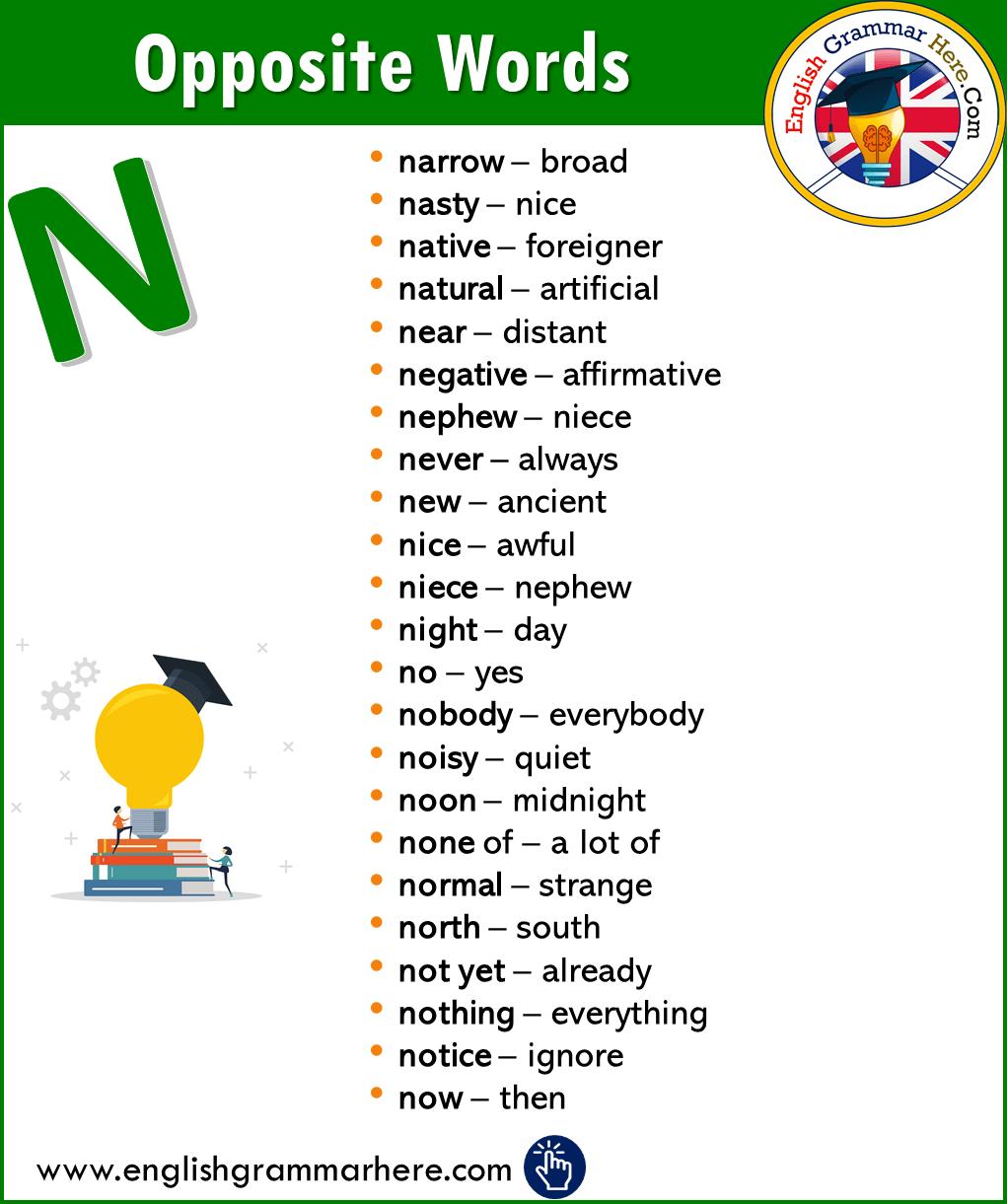 Alphabetical Opposite Word List – N