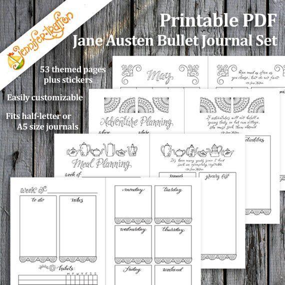 Jane Austen Bullet Journal Planner Set / Instant Download Printable - fitness plan template