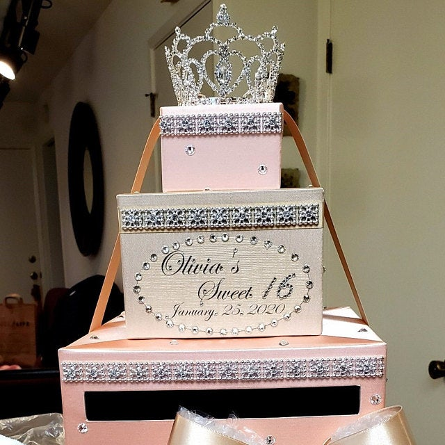 weddingquinceañerasweet16 card box sets 3 tier champagne