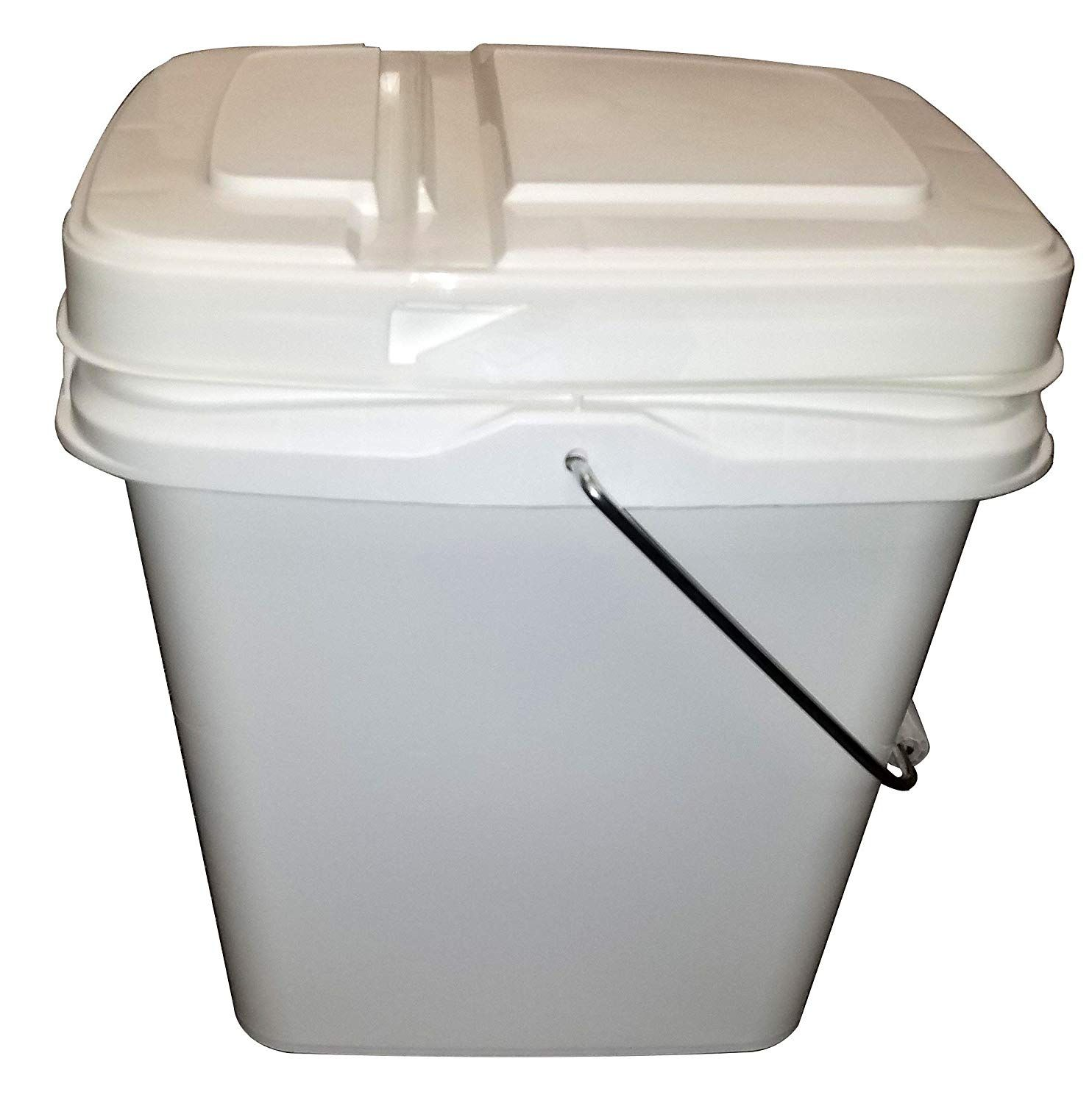 2 Gallon White Rectangle Pail With Metal Handle And Hinged Lid 10 Pack Hinged Lid Preppers Storage Pail