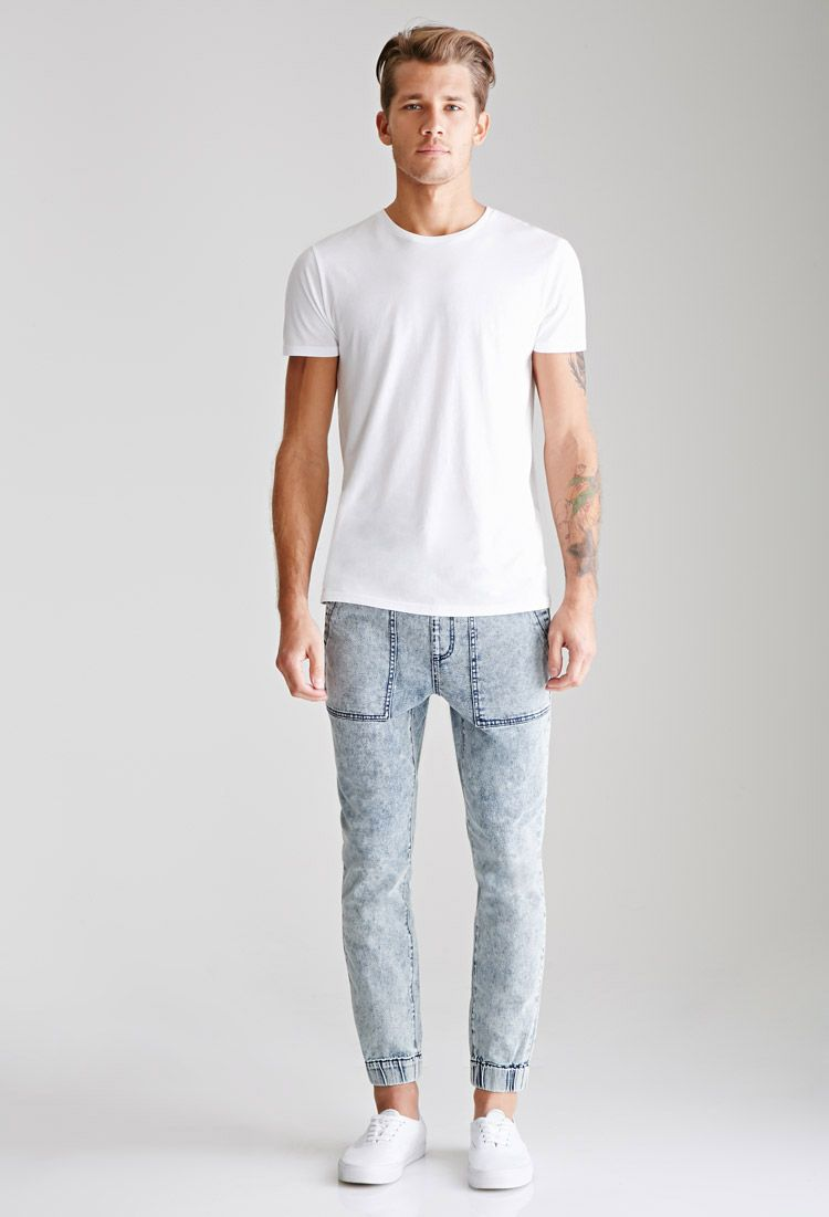 Acid Wash Denim Joggers | 21 MEN - 2049258107