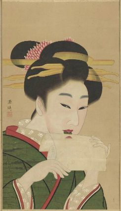 Geisha 美人図 Kyoto Genki, Japanese, 1747–1797, Hanging scroll; ink and color on paper, MFA