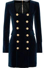 Double-breasted cotton-blend velvet mini dress