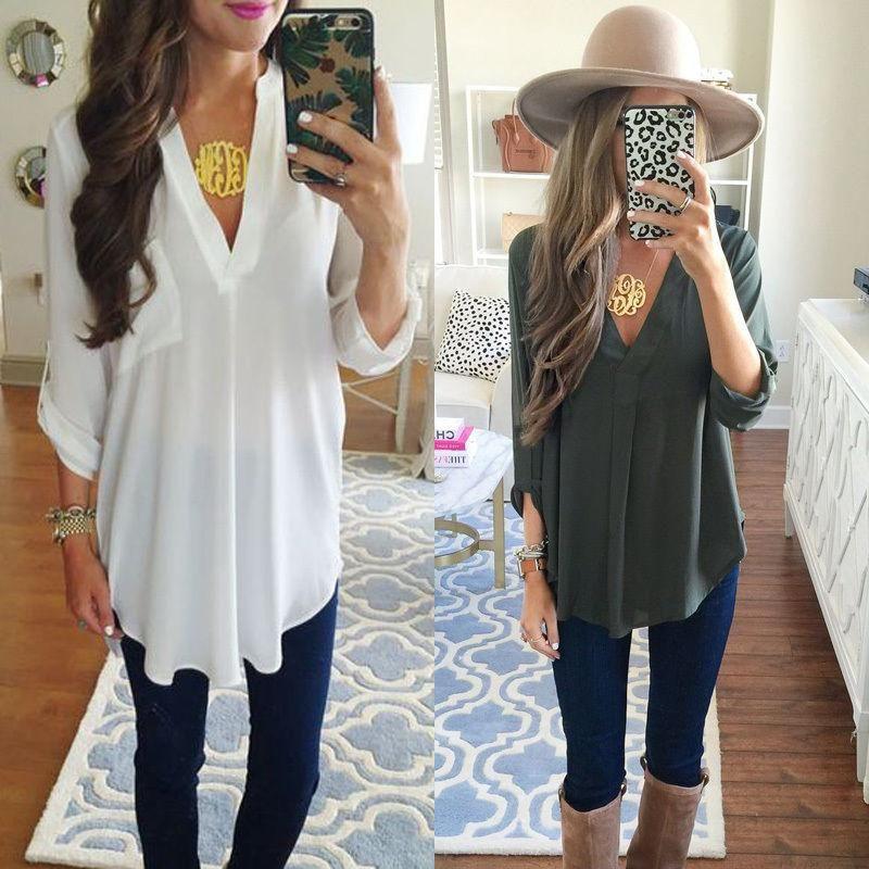 US STOCK Womens Loose Long Sleeve Casual Blouse Shirt Tops Fashion Blouse US STOCK Womens Loose Long Sleeve Casual Blouse Shirt Tops Fashion Blouse