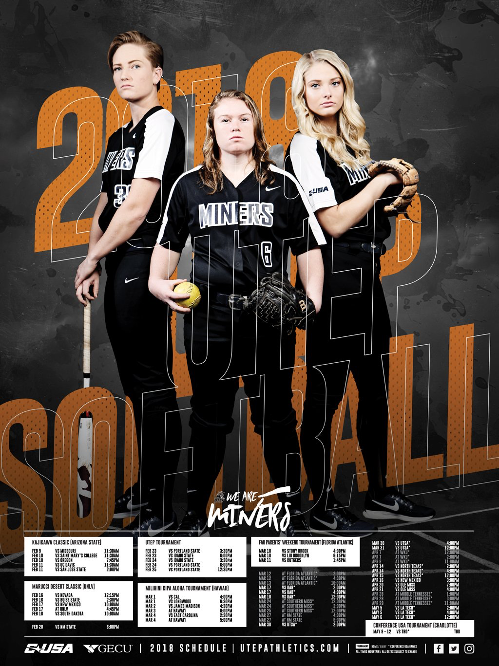 2018 Utep Softball Schedule Poster Sports Design Sports Graphics Softball Team