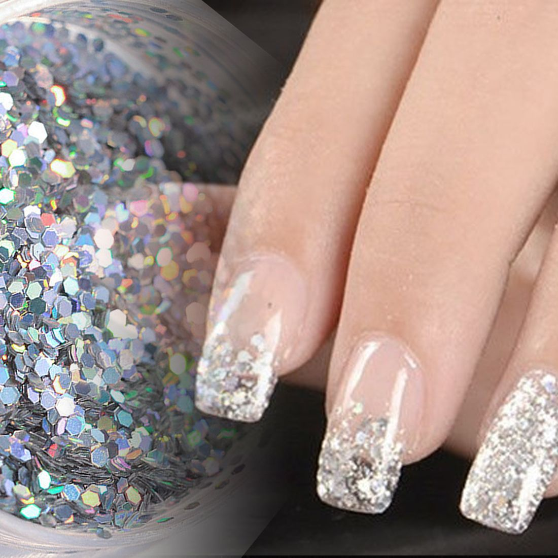 Hot Sale1 Box Holographic Nail Glitter Powder Shining Sugar Nail ...