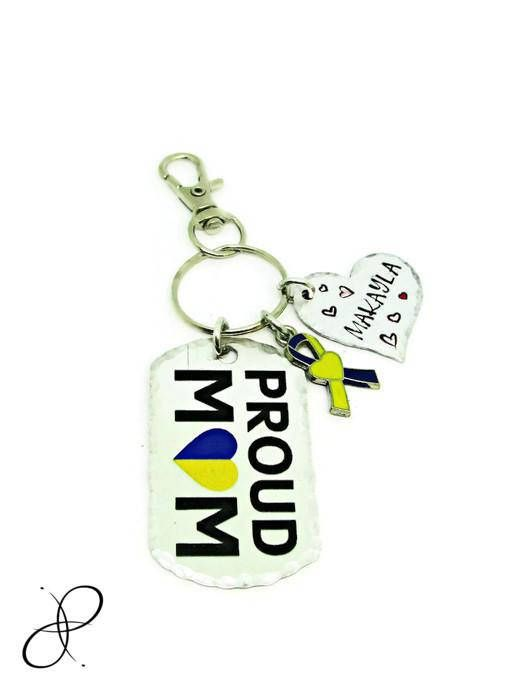 Down Syndrome Awareness Down Syndrome Keychain Hand Stamped Key Chain Personalized Gift Proud Mom Child Yellow /& Blue Awareness Ribbon