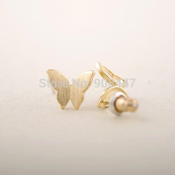 1 joyería de Moda PCS-S024 Nueva Mariposa Linda tachona los Pendientes Pendientes para Las Mujeres Oro Plata Oro Rosa Animales