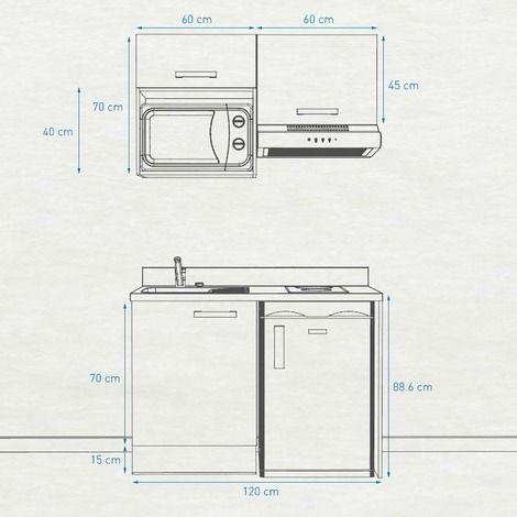 Kitchenette K02 120cm Avec Emplacement Frigo Top Hotte Et Micro Ondes Cromo Bardolino Vasque A Gauche K02h120ba P120cr G Kitchenette Amenager Kitchenette Cuisine Studio