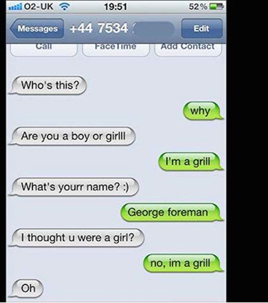 Funny text messages sent to wrong person