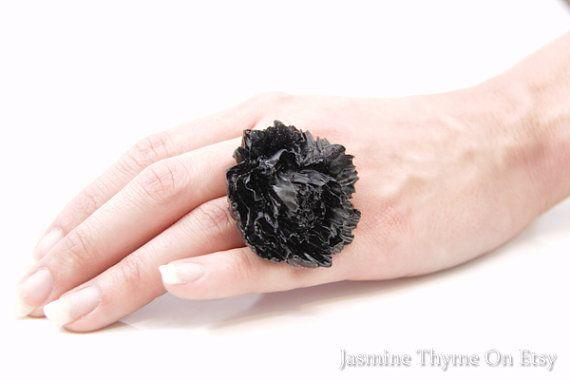 60's retro ring black statement ring flower ring by JasmineThyme, $20.00