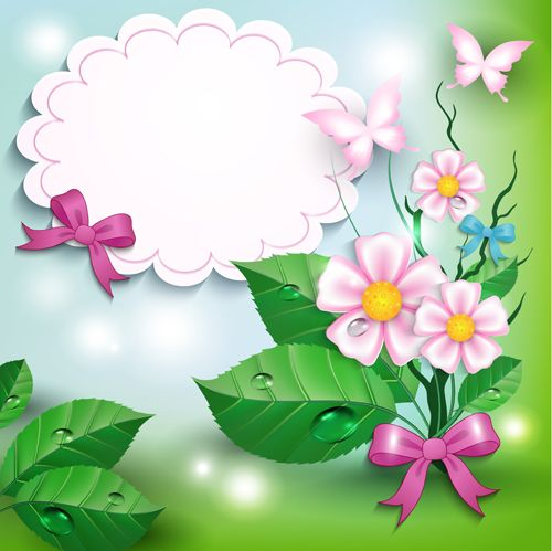 Flowers and butterflies with bow background vector 01 - Vector Animal free download